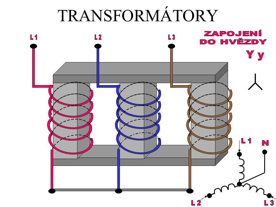 TRANSFORMÁTORY ZAPOJENÍ DO HVĚZDY L 1 L 2 L 3 Y y L 1 N L 2 L 3