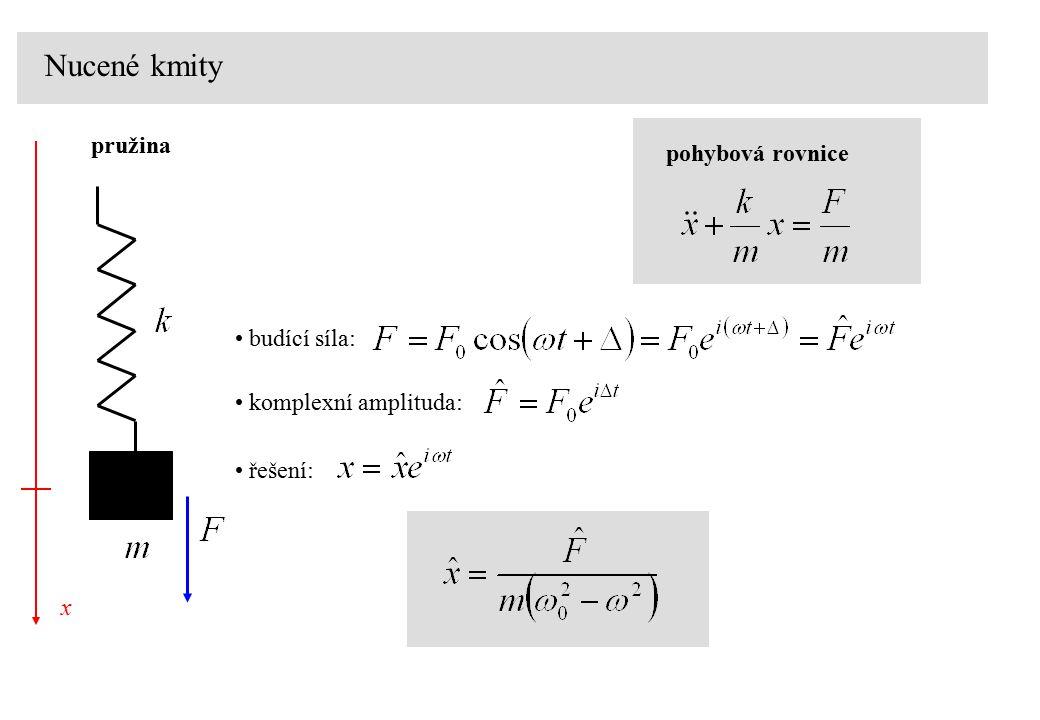 Nucené kmity pružina pohybová rovnice budící síla: