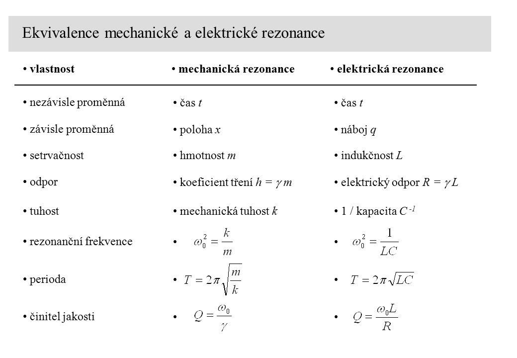 Ekvivalence mechanické a elektrické rezonance