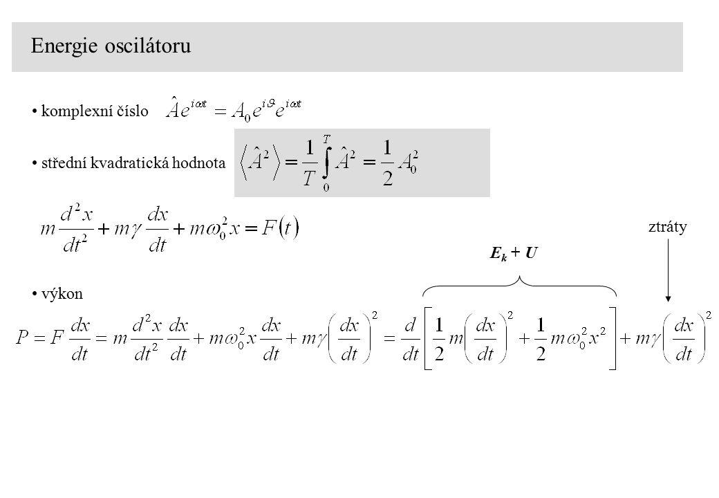 Energie oscilátoru komplexní číslo střední kvadratická hodnota ztráty