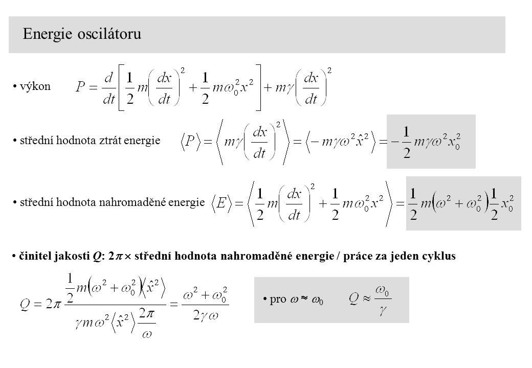 Energie oscilátoru výkon střední hodnota ztrát energie