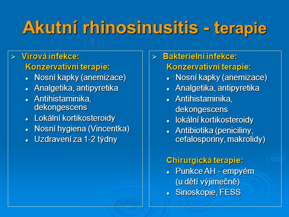 Akutní rhinosinusitis - terapie