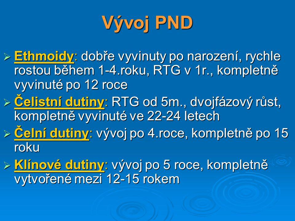 Vývoj PND Ethmoidy: dobře vyvinuty po narození, rychle rostou během 1-4.roku, RTG v 1r., kompletně vyvinuté po 12 roce.