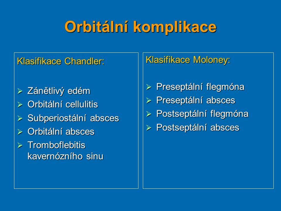 Orbitální komplikace Klasifikace Chandler: Zánětlivý edém