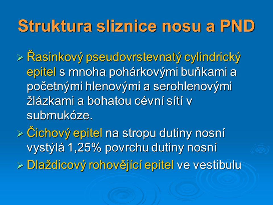 Struktura sliznice nosu a PND