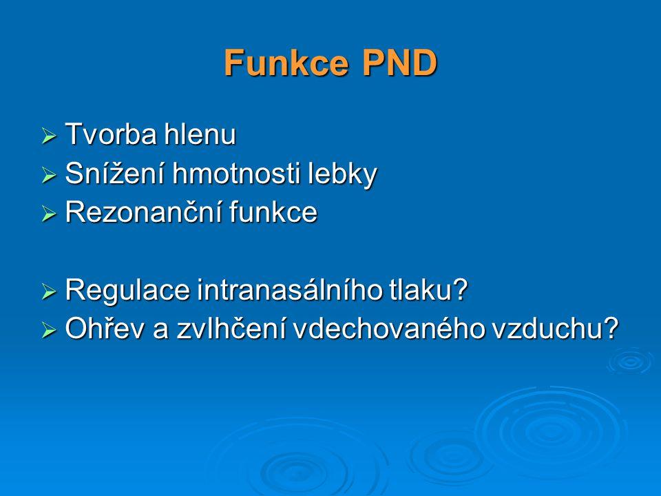 Funkce PND Tvorba hlenu Snížení hmotnosti lebky Rezonanční funkce