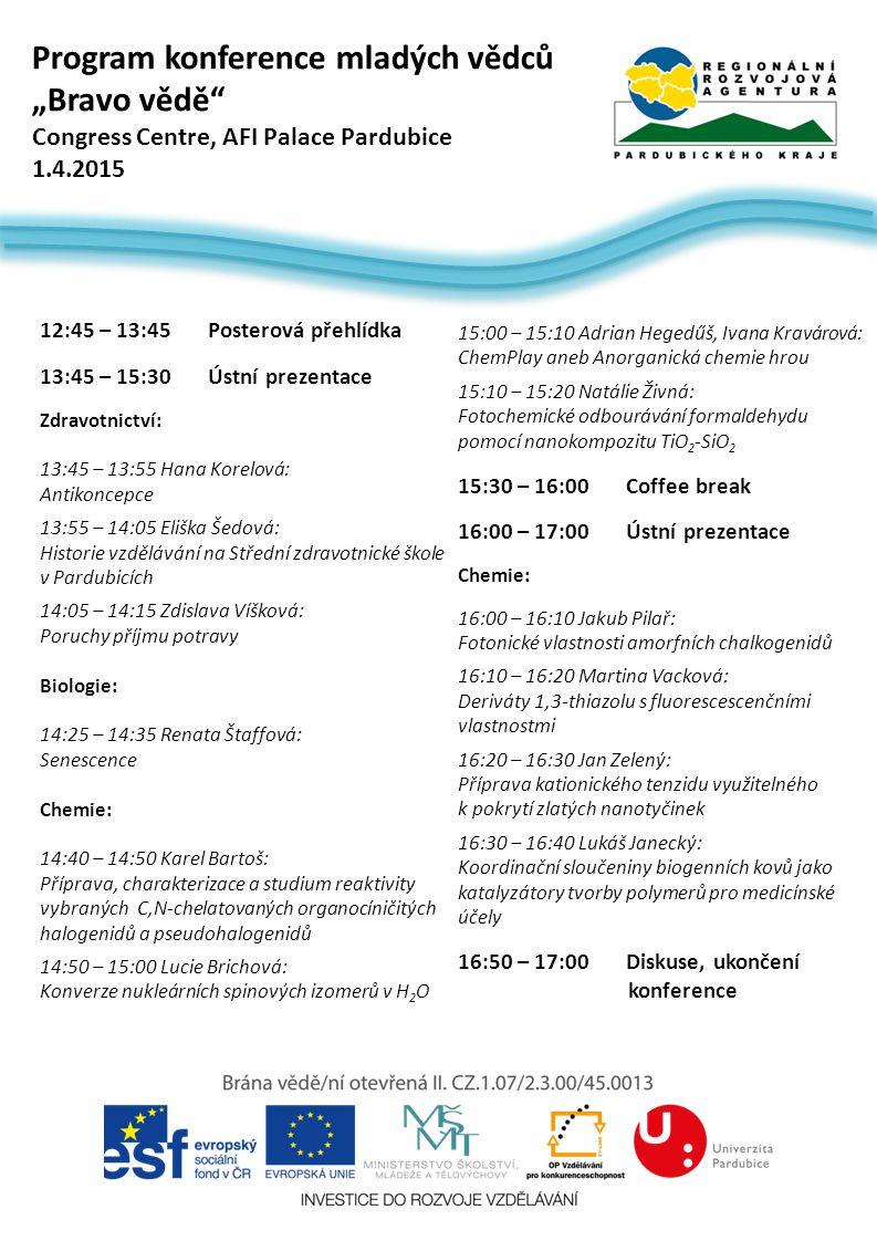 """Program konference mladých vědců """"Bravo vědě"""