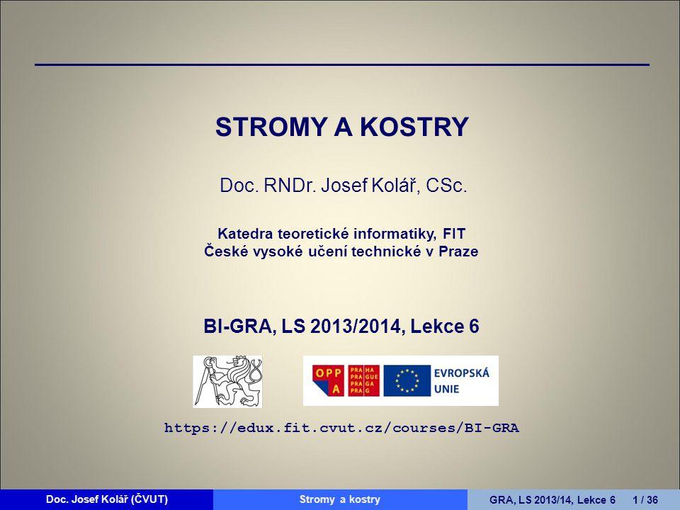 STROMY A KOSTRY Doc. RNDr. Josef Kolář, CSc
