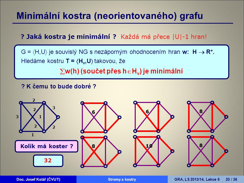 w(h) (součet přes hHv) je minimální
