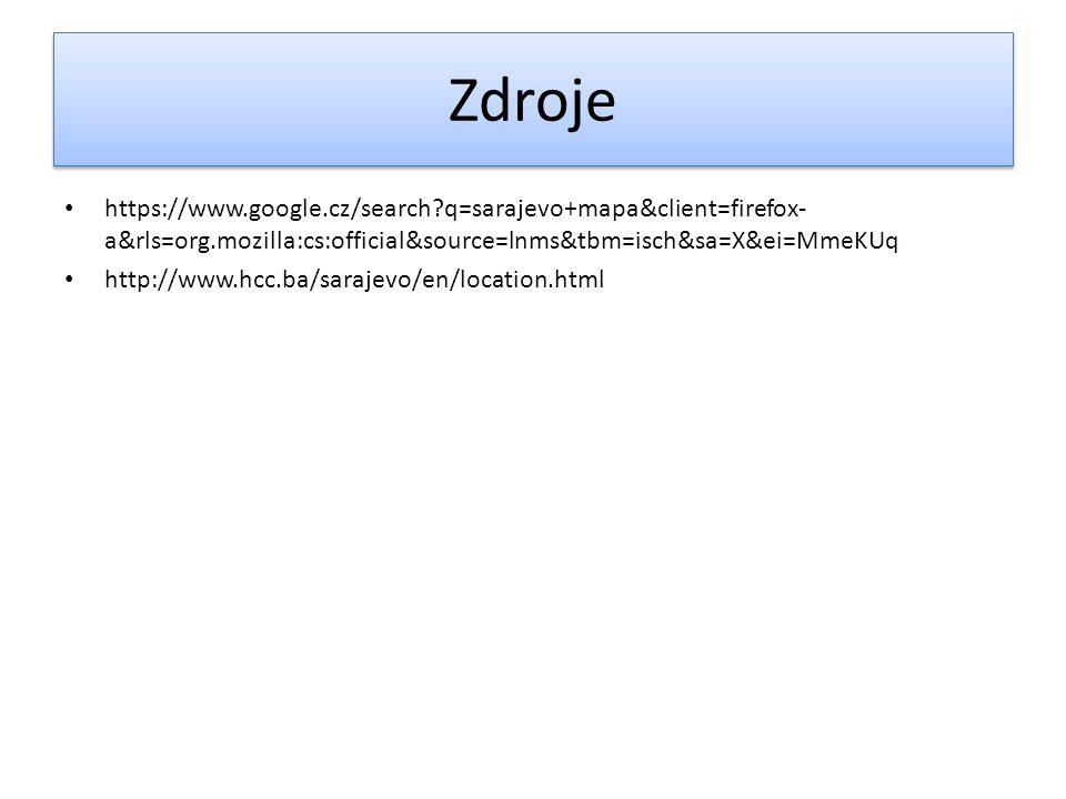 Zdroje https://www.google.cz/search q=sarajevo+mapa&client=firefox-a&rls=org.mozilla:cs:official&source=lnms&tbm=isch&sa=X&ei=MmeKUq.