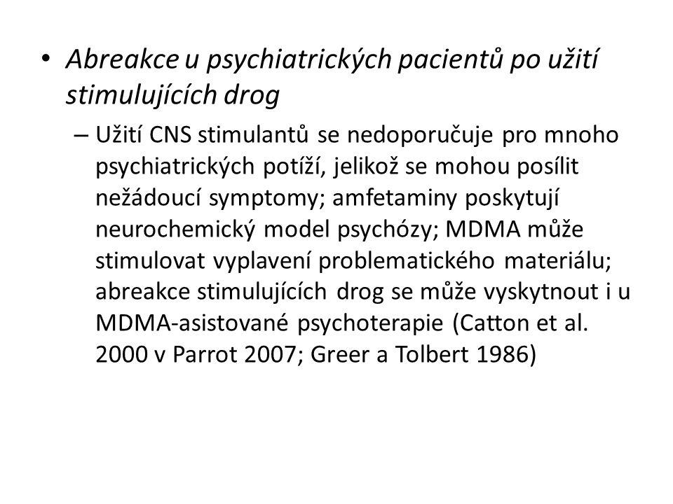 Abreakce u psychiatrických pacientů po užití stimulujících drog