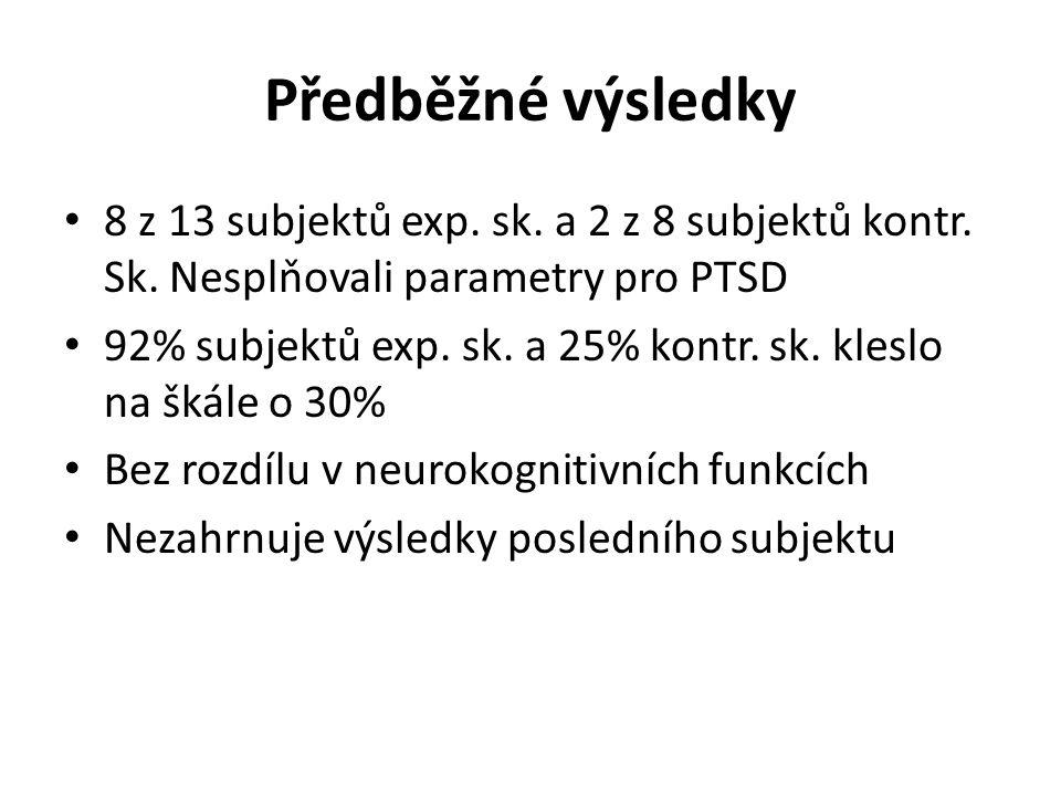 Předběžné výsledky 8 z 13 subjektů exp. sk. a 2 z 8 subjektů kontr. Sk. Nesplňovali parametry pro PTSD.