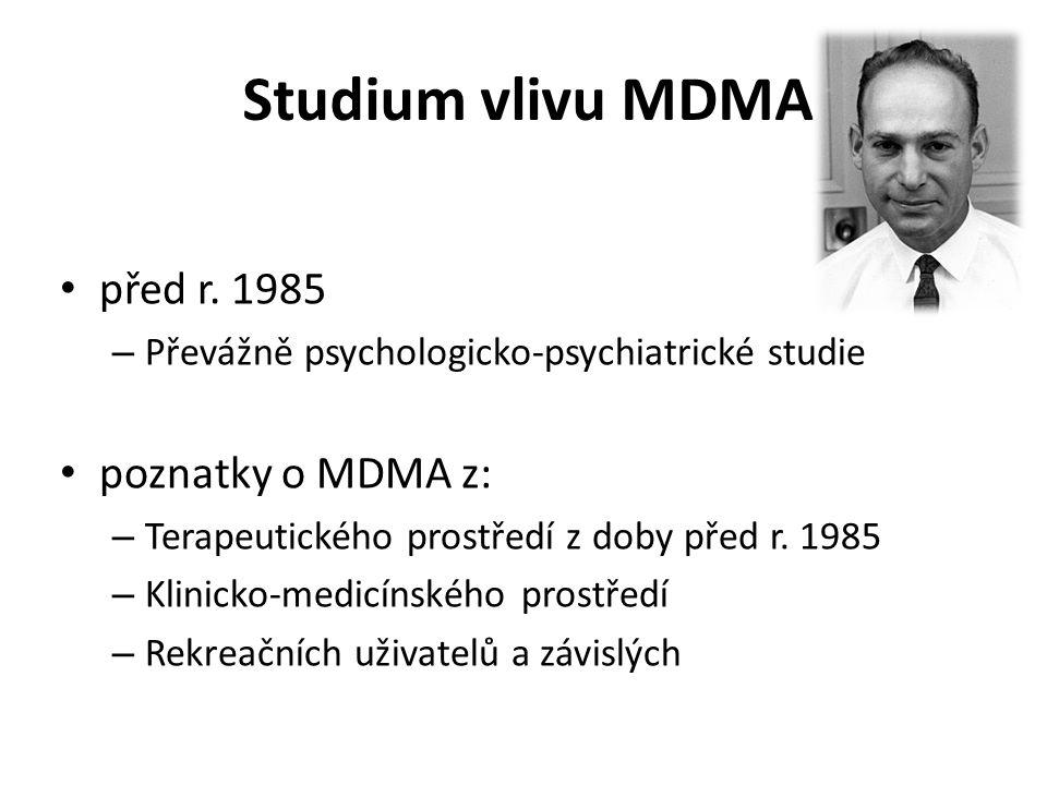 Studium vlivu MDMA před r. 1985 poznatky o MDMA z: