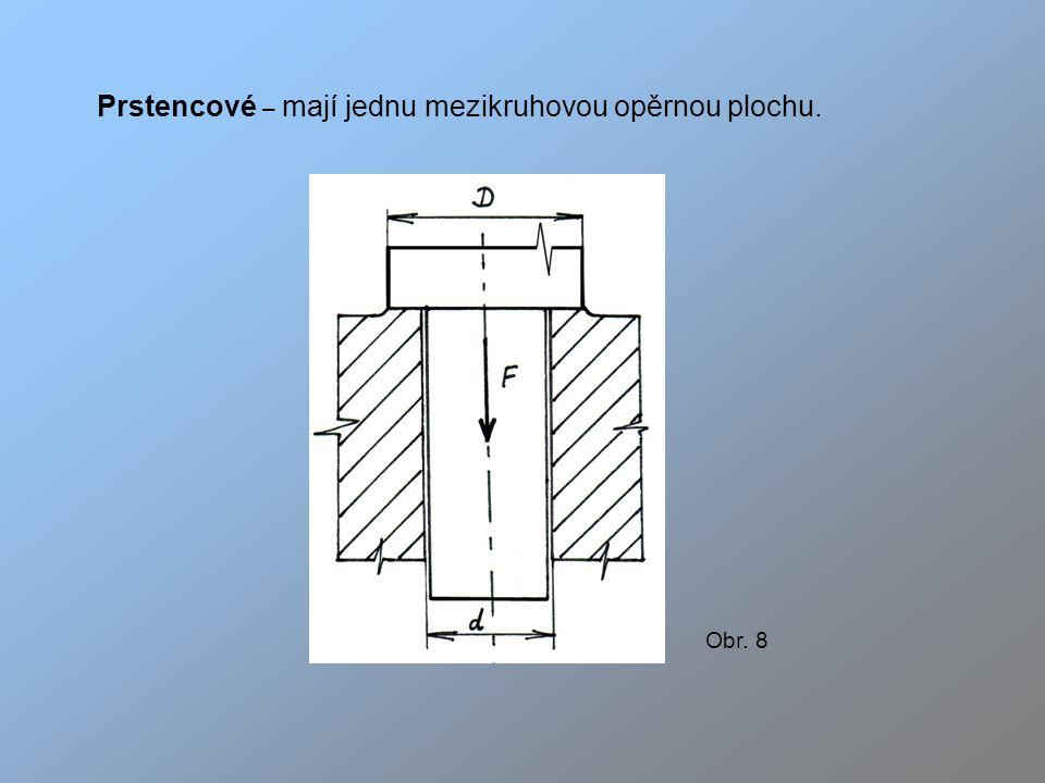 Prstencové – mají jednu mezikruhovou opěrnou plochu.