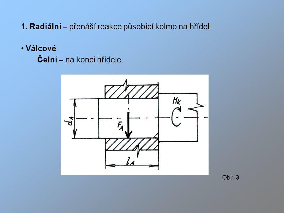 1. Radiální – přenáší reakce působící kolmo na hřídel. Válcové
