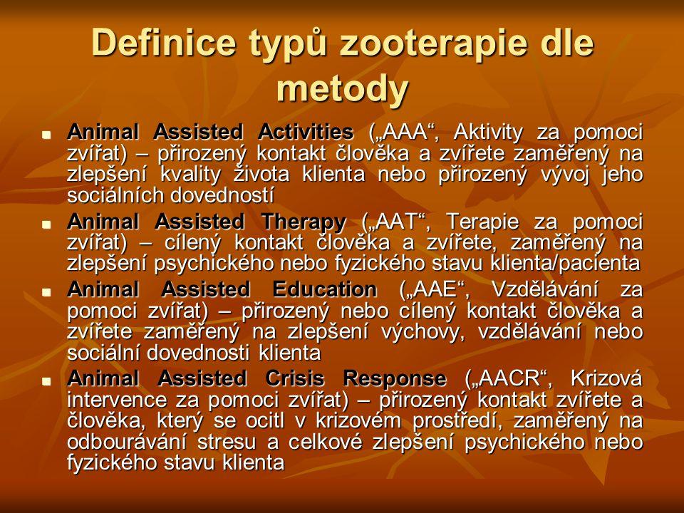 Definice typů zooterapie dle metody