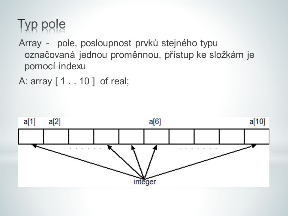 Typ pole Array - pole, posloupnost prvků stejného typu označovaná jednou proměnnou, přístup ke složkám je pomocí indexu.