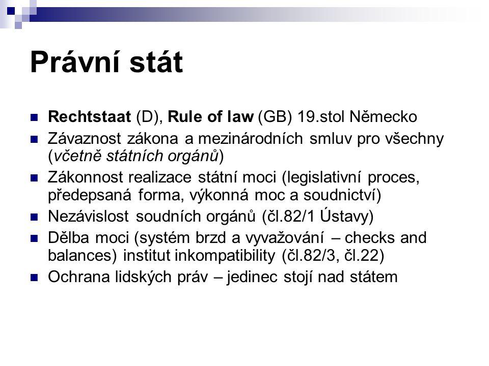 Právní stát Rechtstaat (D), Rule of law (GB) 19.stol Německo