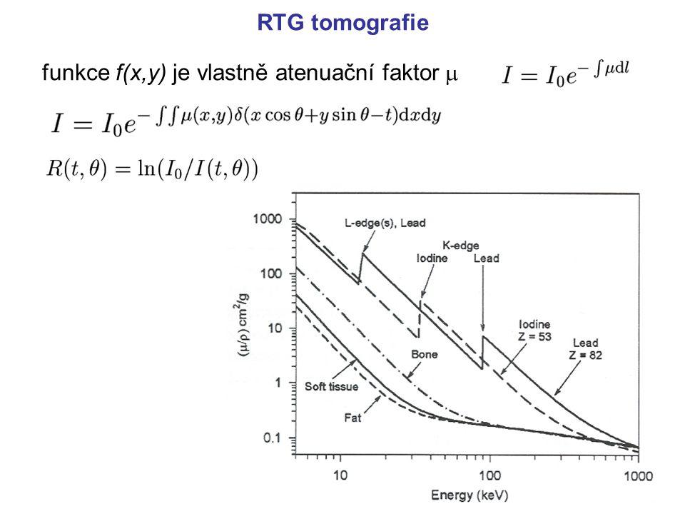 RTG tomografie funkce f(x,y) je vlastně atenuační faktor m