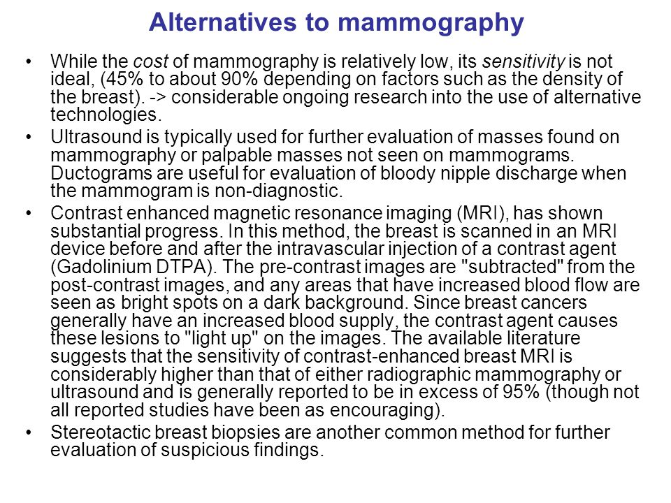 Alternatives to mammography