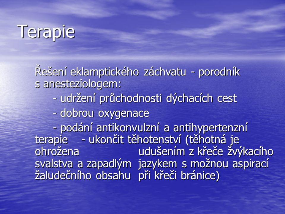 Terapie Řešení eklamptického záchvatu - porodník s anesteziologem: