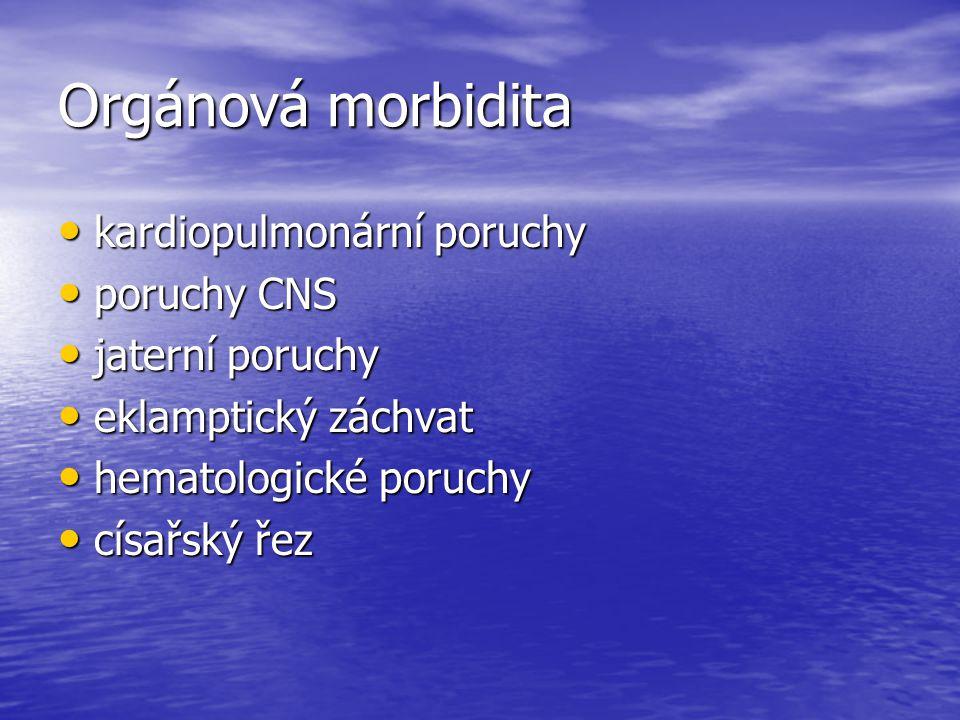Orgánová morbidita kardiopulmonární poruchy poruchy CNS