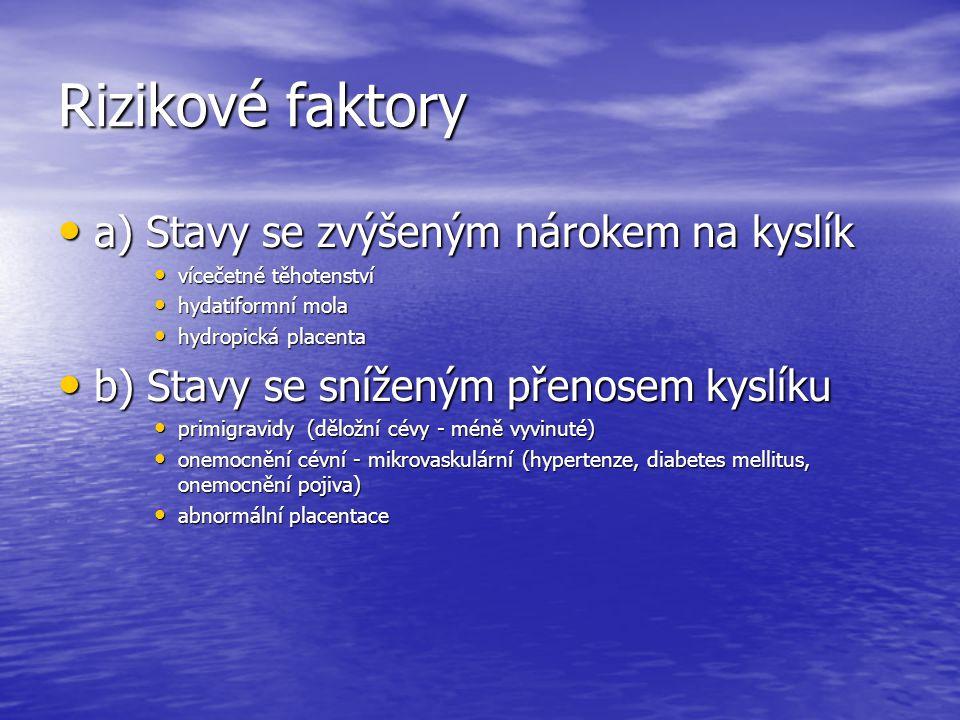 Rizikové faktory a) Stavy se zvýšeným nárokem na kyslík