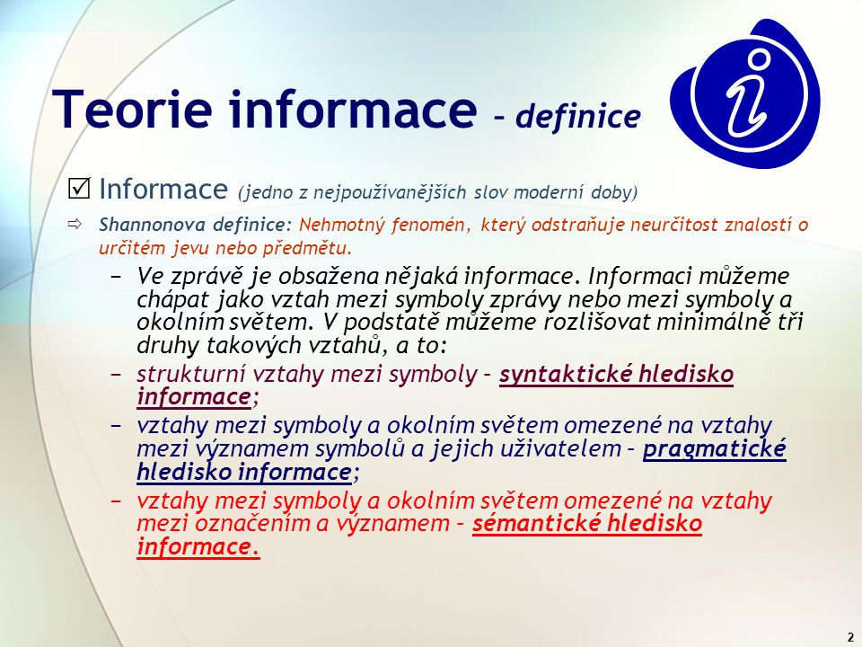 Teorie informace – definice