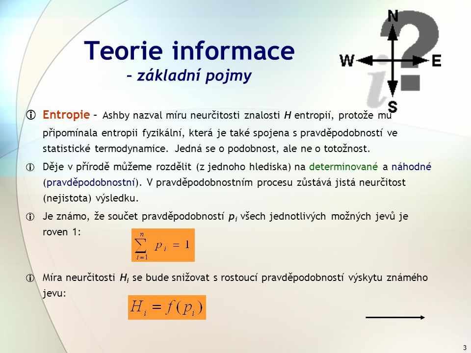 Teorie informace – základní pojmy