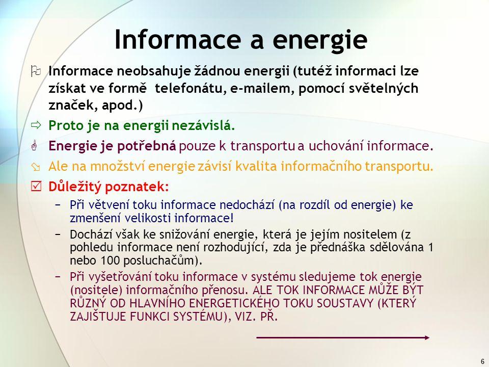 Informace a energie Informace neobsahuje žádnou energii (tutéž informaci lze získat ve formě telefonátu, e-mailem, pomocí světelných značek, apod.)