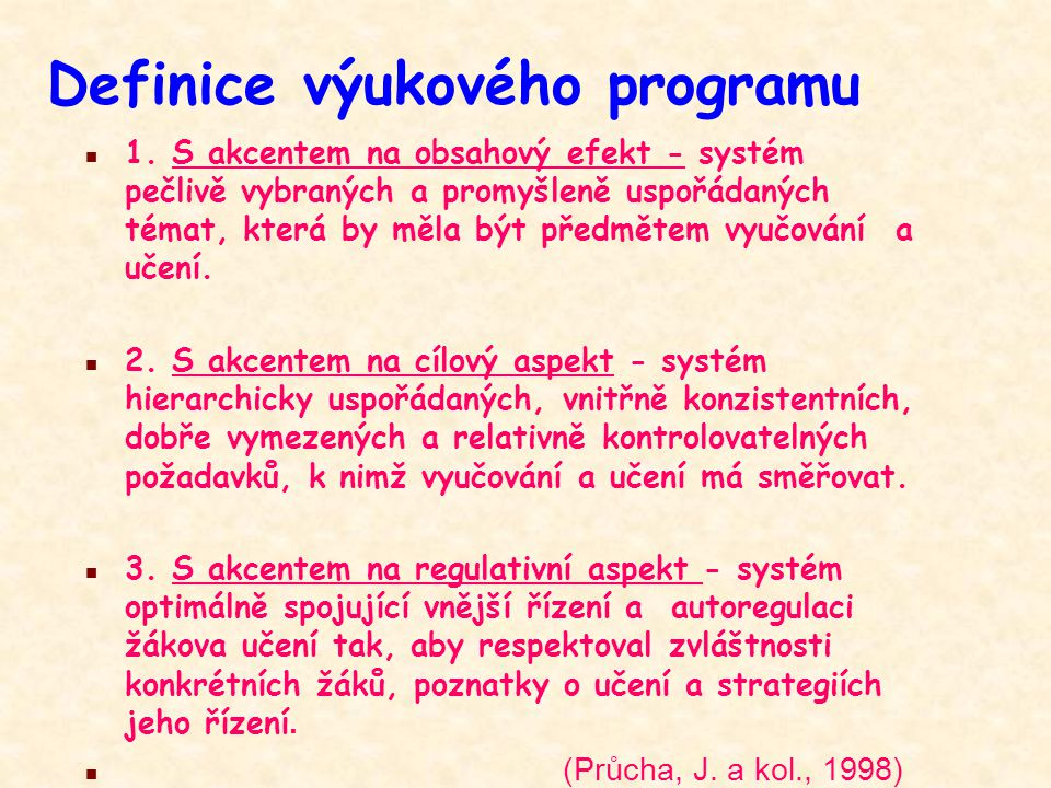 Definice výukového programu
