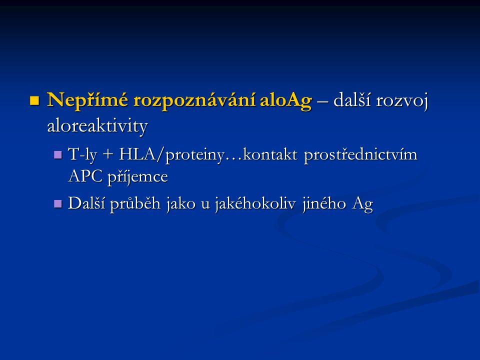 Nepřímé rozpoznávání aloAg – další rozvoj aloreaktivity