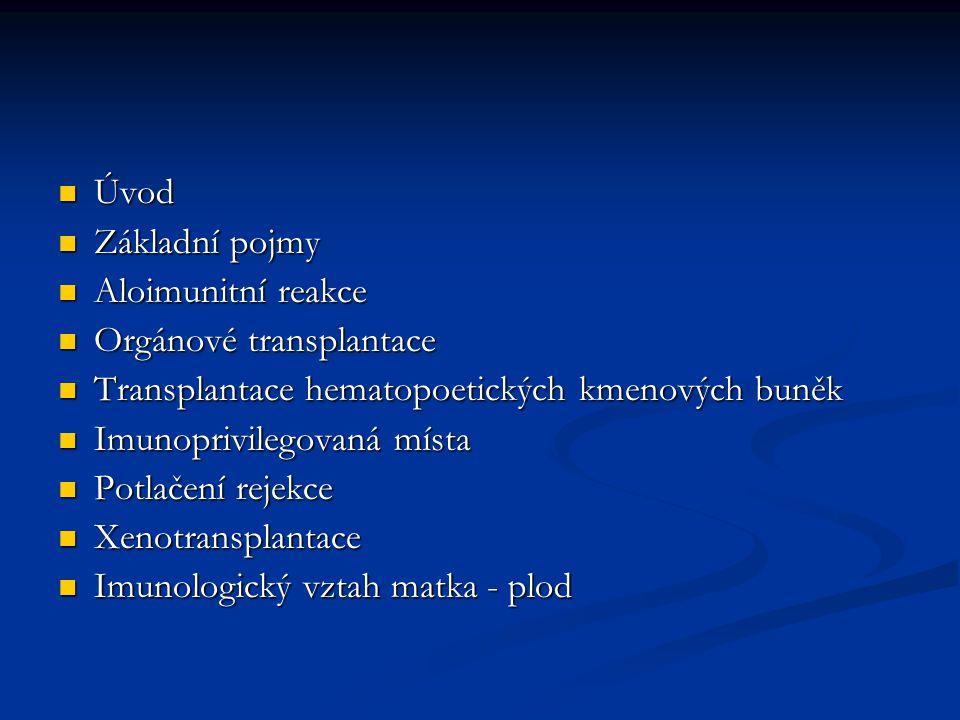 Úvod Základní pojmy. Aloimunitní reakce. Orgánové transplantace. Transplantace hematopoetických kmenových buněk.
