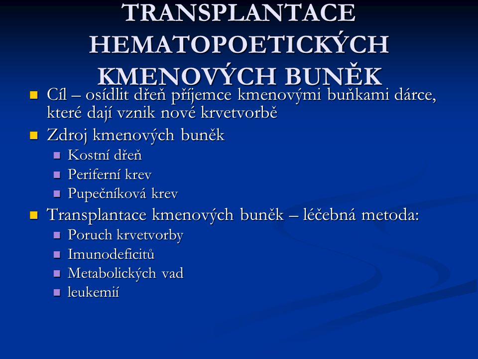TRANSPLANTACE HEMATOPOETICKÝCH KMENOVÝCH BUNĚK