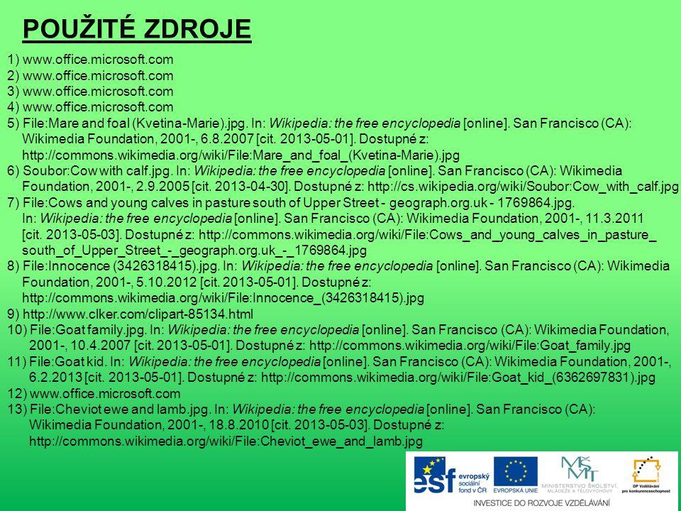 POUŽITÉ ZDROJE 1) www.office.microsoft.com 2) www.office.microsoft.com