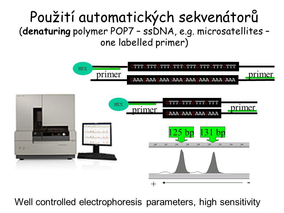 Použití automatických sekvenátorů (denaturing polymer POP7 – ssDNA, e