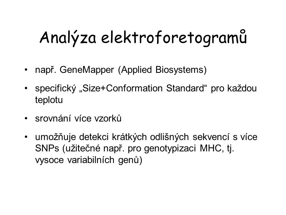 Analýza elektroforetogramů