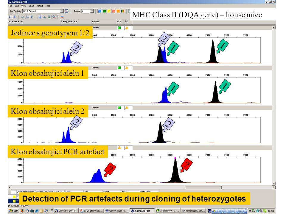 2 1 2 1 1 1 2 2 MHC Class II (DQA gene) – house mice