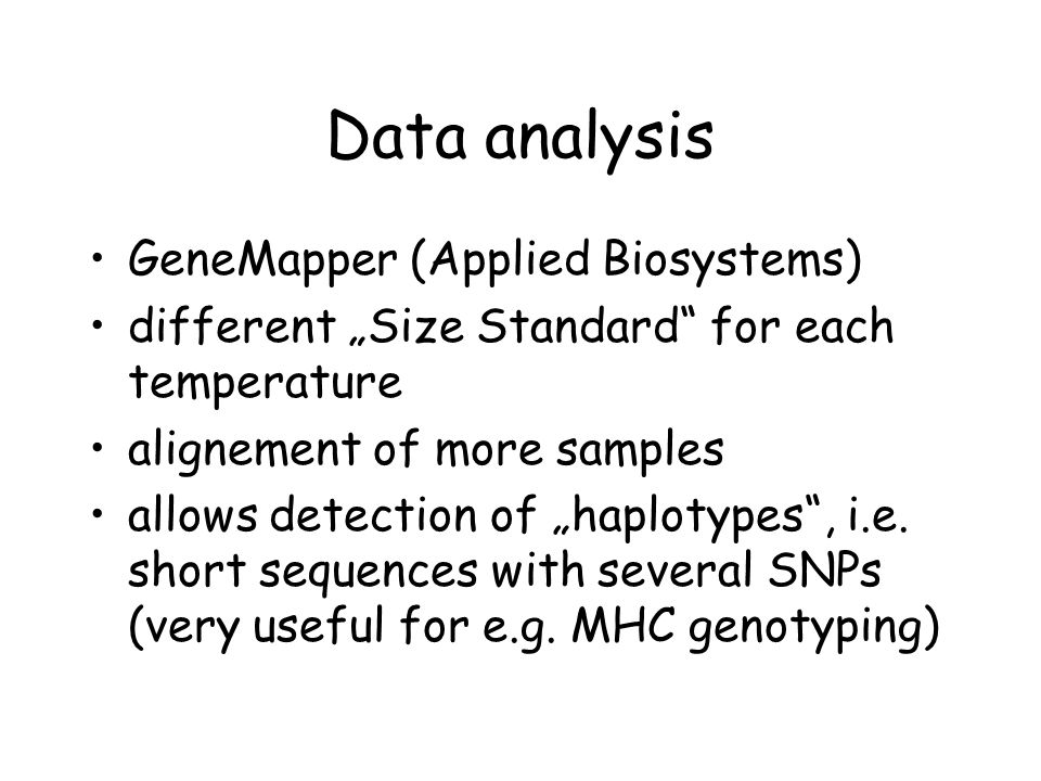 Data analysis GeneMapper (Applied Biosystems)