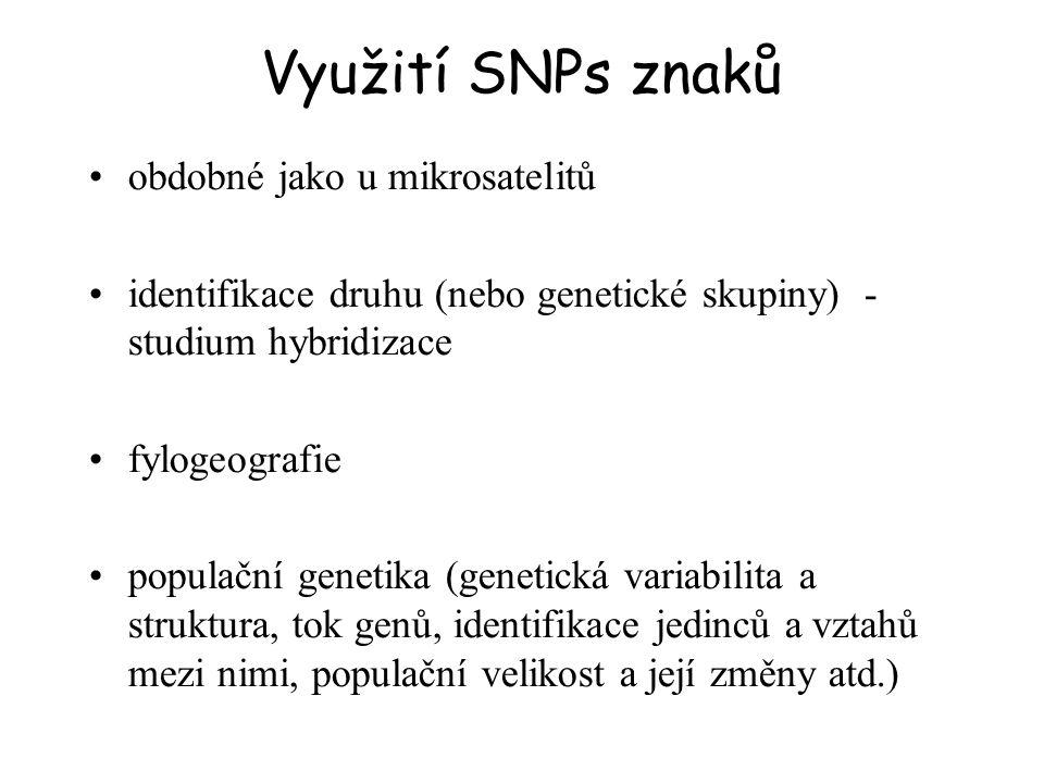 Využití SNPs znaků obdobné jako u mikrosatelitů