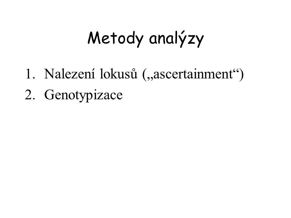 """Metody analýzy Nalezení lokusů (""""ascertainment ) Genotypizace"""