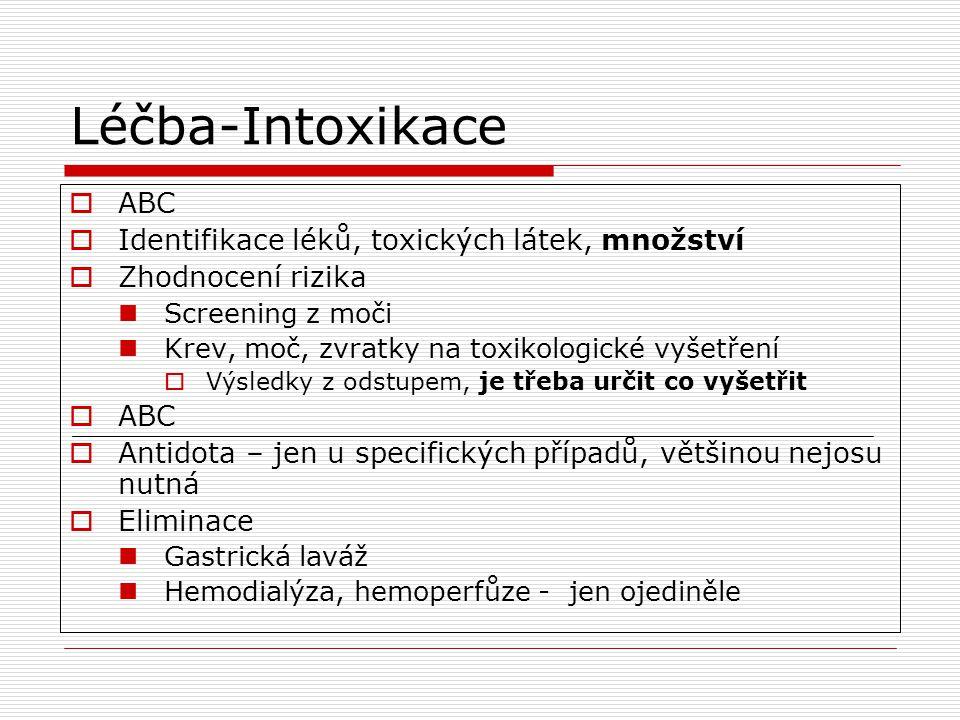 Léčba-Intoxikace ABC Identifikace léků, toxických látek, množství
