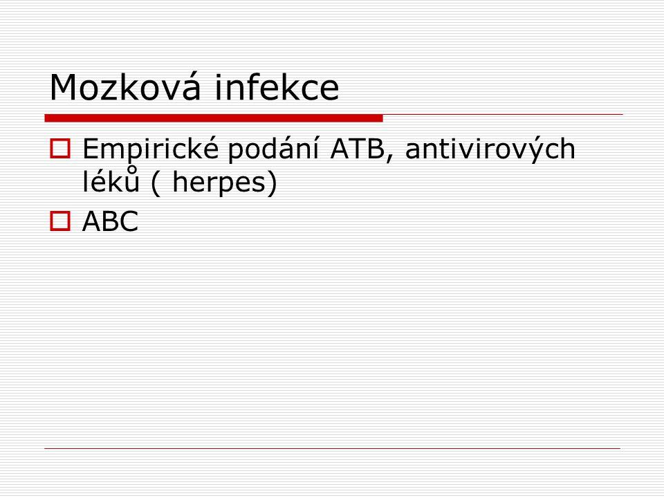 Mozková infekce Empirické podání ATB, antivirových léků ( herpes) ABC
