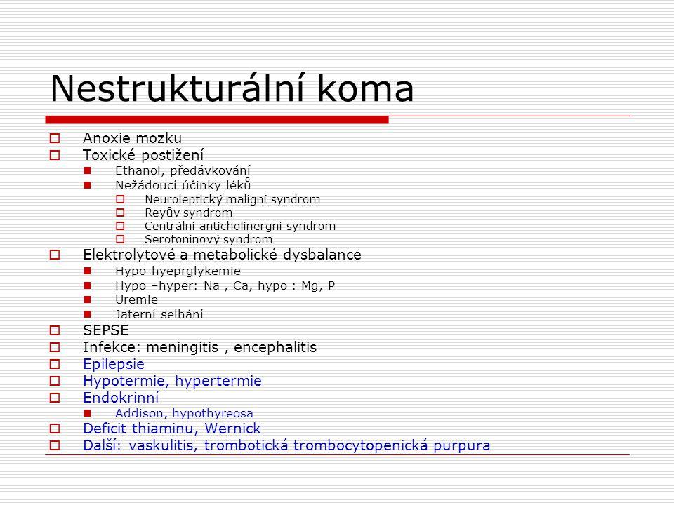 Nestrukturální koma Anoxie mozku Toxické postižení