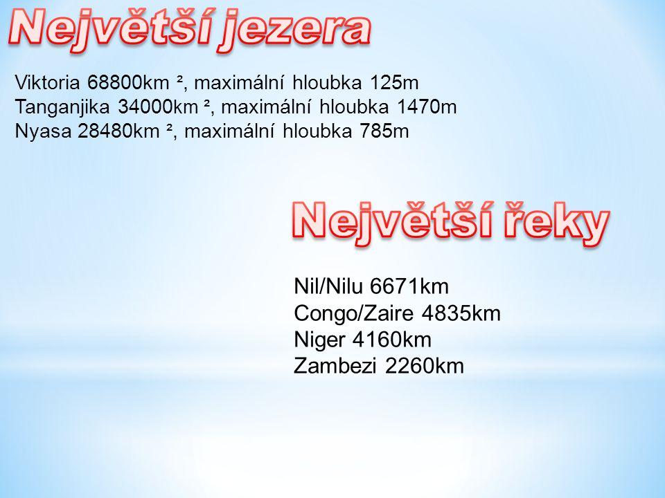 Nil/Nilu 6671km Congo/Zaire 4835km Niger 4160km Zambezi 2260km