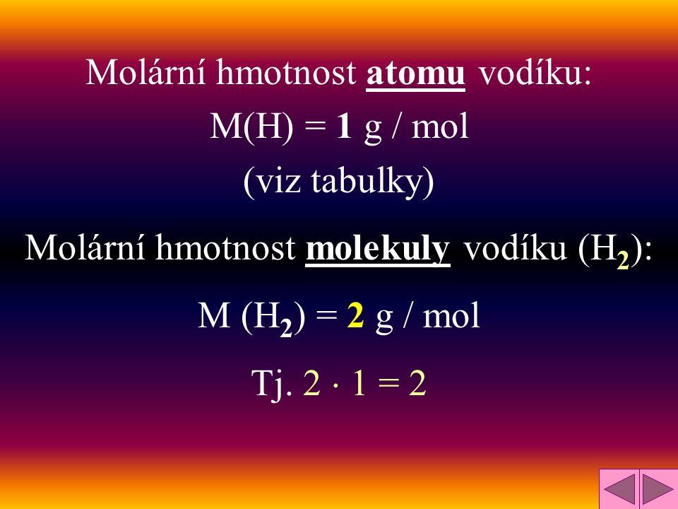 Molární hmotnost atomu vodíku: M(H) = 1 g / mol (viz tabulky)