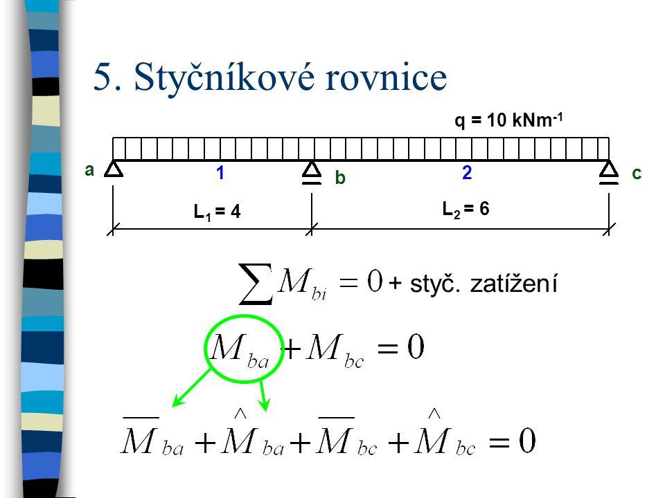 5. Styčníkové rovnice + styč. zatížení q = 10 kNm-1 a b c L1 = 4