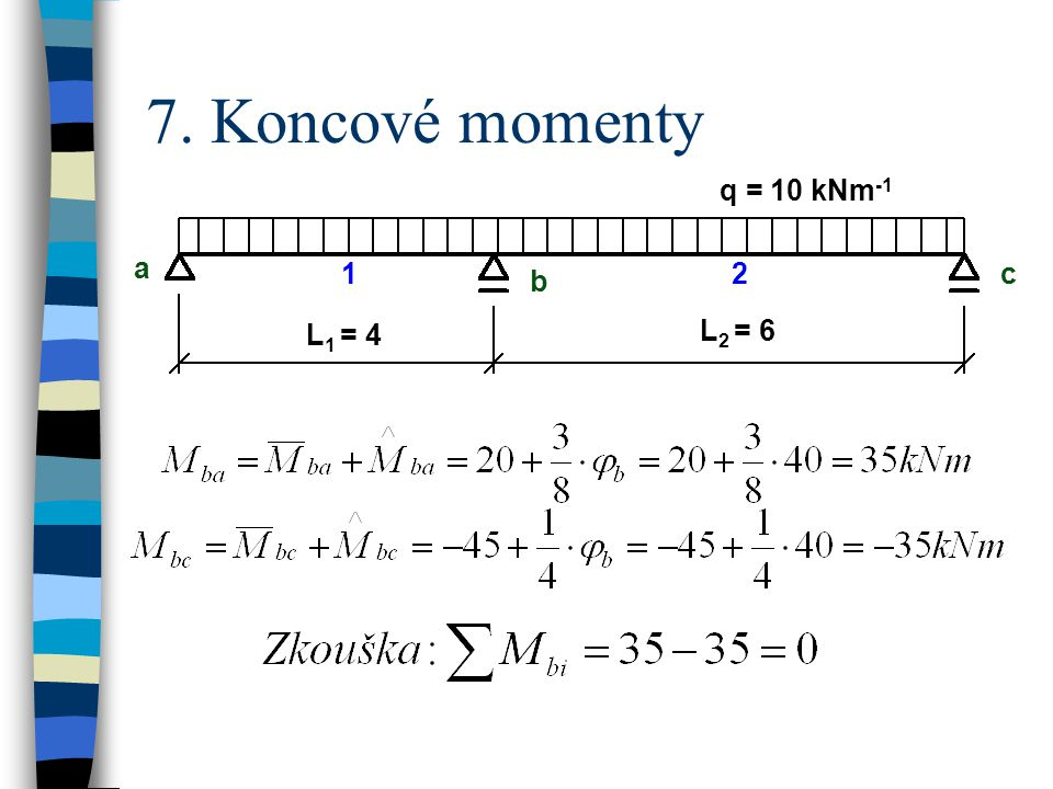 7. Koncové momenty q = 10 kNm-1 a b c L1 = 4 L2 = 6 1 2