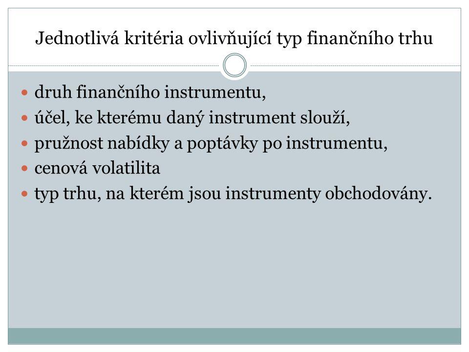 Jednotlivá kritéria ovlivňující typ finančního trhu