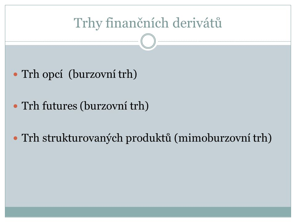 Trhy finančních derivátů